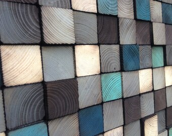 Wood Wall Art - Wood Art Sculpture - Reclaimed Wood Art Wall Installation