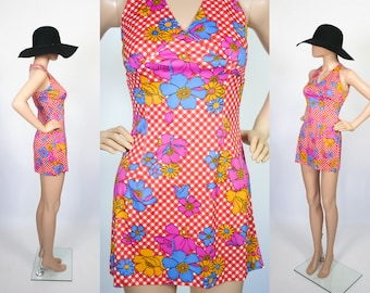 Vintage 60s Hippie Mini Dress Tunic Top / 70s Summer Halter Top / Gingham Flower Print 1970s Sun Dress Beach Cover Up / Extra Small