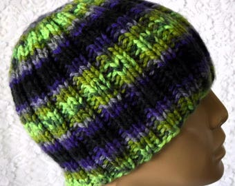 Purple green black beanie hat, skull cap, ribbed beanie, mens womens knit hat, toque, beanie hat, winter hat, striped hat, knit beanie hat