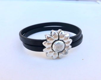 Magnetic silver sunflower black leather bracelet, black leather, sunflower bracelet, magnetic bracelet