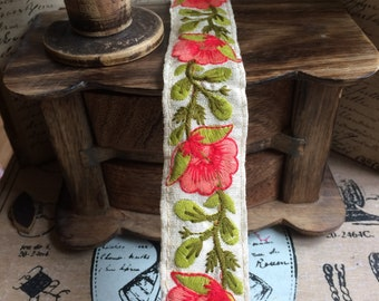 Ribbon embroidered cotton coral lotus 3.5 cm