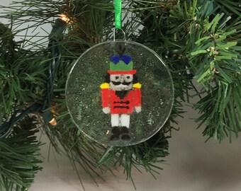 Nutcracker Ornament, Fused Glass Ornament, Nutcracker Suncatcher, Christmas Tree Ornament