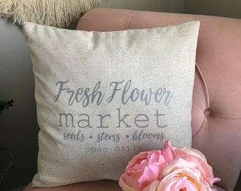 Farmhouse fresh flower market pillow cover