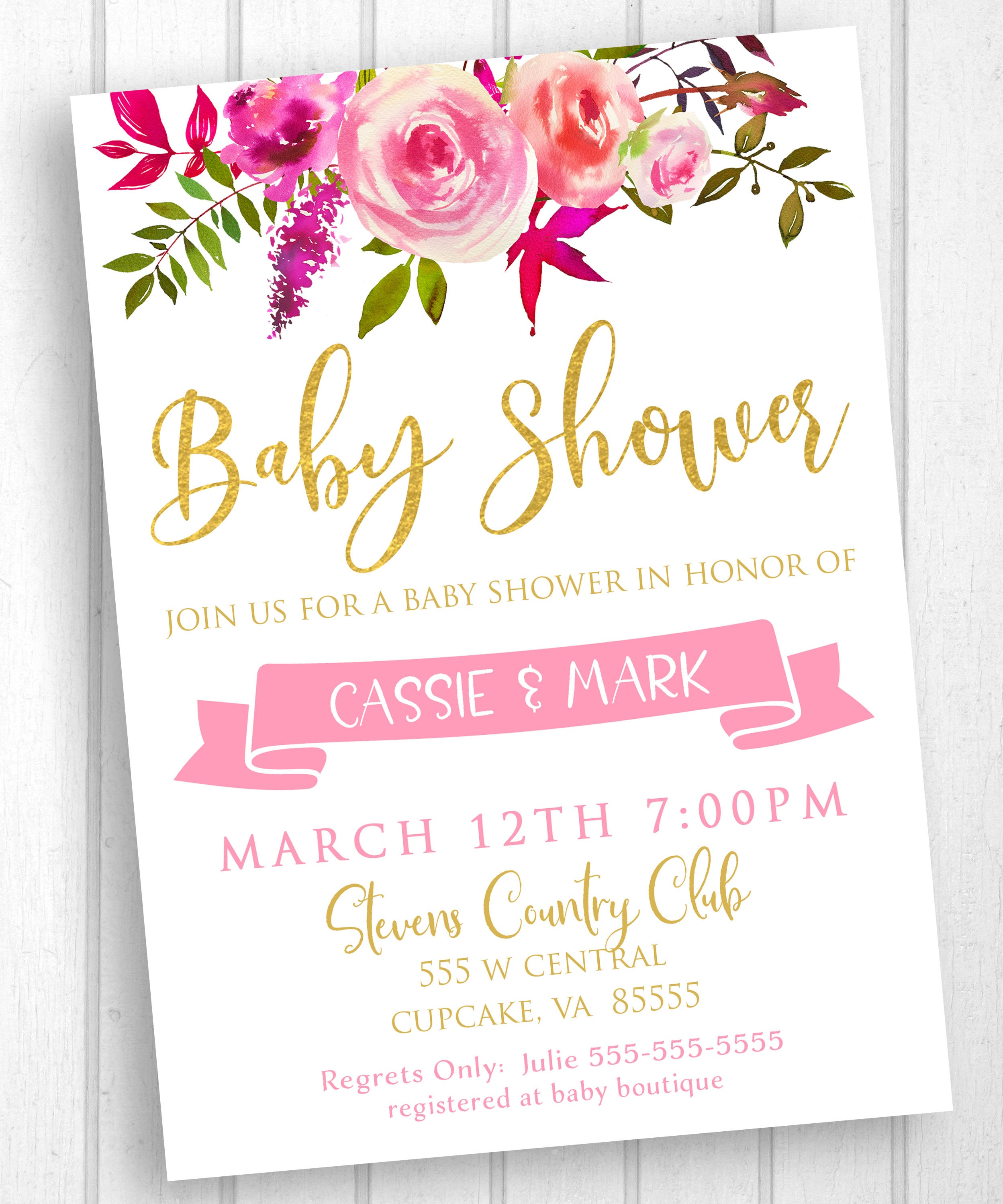 Floral Baby Shower Invitation Watercolor Flower Baby Shower