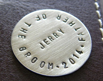 Personalized Golf Ball Marker - Custom Hand Stamped Sterling Silver Keepsake Token - Perfect Gift for Father of the Groom!