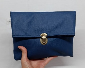 Blue Fold Over Clutch, Vegan Clutch bag, Fold Over Purse, Blue Faux Leather, Blue clutch, Fold Over clutch, Vegan Bag