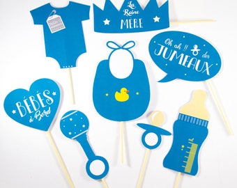 Kit 8 twin baby Shower photobooth props