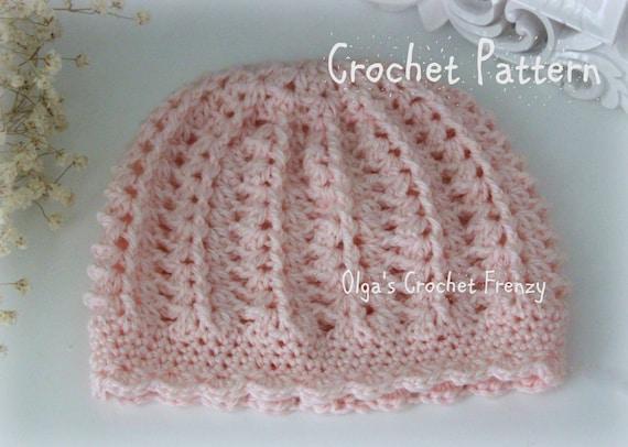 Pink Baby Hat Crochet Pattern Beginner Skill Level Size 3-6