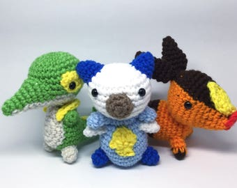 Amigurumi - Pokemon Inspired - Unova Starter Pokemon