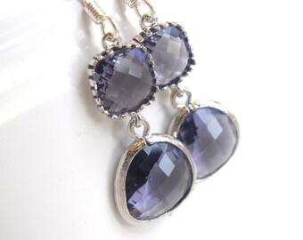 Glass Earrings, Silver Purple Earrings, Amethyst, Tanzanite, Wedding, Purple Bridesmaid Earrings, Bridal Earrings Jewelry, Bridesmaid Gifts