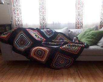 Beautiful  giant  rainbow granny square  blanket