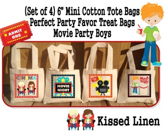Movie Night Movies Cinema Boys Girls Birthday Party Treat Favor Gift Bags Mini Cotton Totes Children Kids Boys Girls Sets