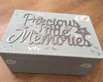 Precious Little Memories hand painted wooden keepsake, memory, wedding, baby box. Choice of colours, wedding gift, baby shower, memories