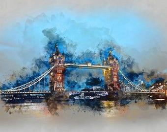 London bridge watercolor from digital photo. Image for print.