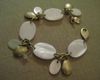 RALPH LAUREN CHAPS Genuine Mother Of Pearl Gold Tone Charm Bracelet