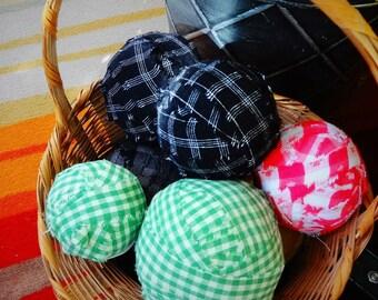 Vintage FABRIC RAG Balls for Prim Decor or Making Rugs