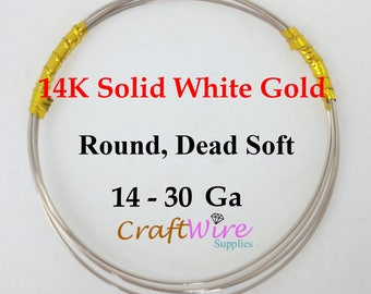 14K Solid White Gold Wire, 14 16 18 20 22 24 26 28 30 Gauge, Round, Dead Soft, 14K Pure White Gold, Jewelry Wrapping DIY Craft Supplies