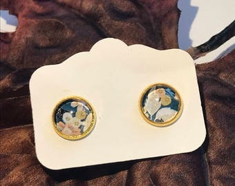 Stud Earrings | Handpainted Earrings | Glass earrings | photo earrings | post earrings | Gift for her