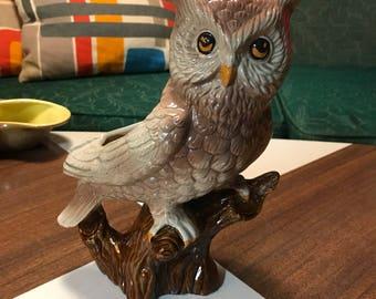 Vintage 1970's Ceramic Owl Planter
