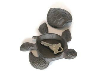 Cast Iron Turtle Box, Rustic Brown Sea Turtle Figurine, Hide a Key Box, Key Holder, Ring Holder, Housewarming Gift Under 15 Dollars