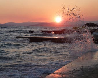 Sunset Beach Waves Sea, Nature Photography