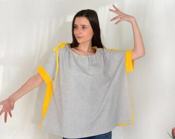Loose shirt with yelow back/ oversize blouse/ long off-shoulder/ Boatneck blouse.