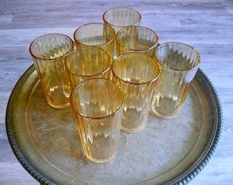 8 Dewdrop Marigold Glass Tumblers, Jeannette Optic 9oz Tumblers, Amber Iridescent Carnival Glass, Marigold Wedding, Mid Century Drinkware
