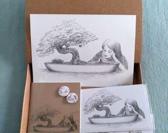 CAJAS REGALO - Ilustración de Fantasía - Pequeña Amistad