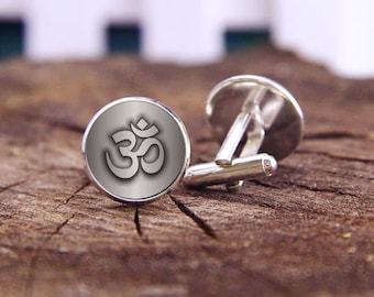 Om Cufflinks, Cusom Om Cuff Links, Lotus Om Cufflinks, Indian Mascots, Om Cuff, Custom Wedding Cufflinks, Groom Cufflinks, Tie Clip, Or Set