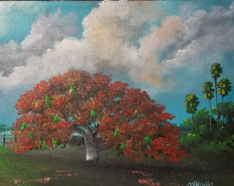 Original Painting Florida Landscape Art Tropical Painting Poinciana Tree Red Flame Tree Impressionism
