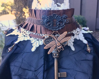 Steampunk Choker, Steampunk Collar, Victorian Choker, Victorian Collar, Dragonfly Jewelry, White and Brown Lace Jewelry, Cosplay Jewelry