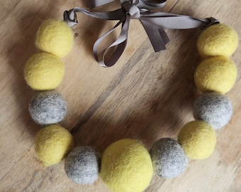 Yellow & Gray Felt Wool Necklace
