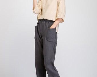 linen pants women, Tapered pants, gray linen pants, slacks pants, womens pants, pant with pockets, casual pants, elastic waist pants 1930