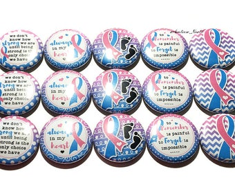 "Pregnancy and Infant Loss Magnet, Blue and Pink Ribbon, 1"", Button Magnet, PAIL, Miscarriage Ribbon, Stillbirth Ribbon, Infant Loss Ribbon"