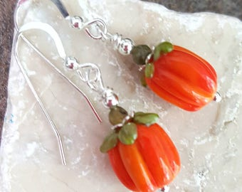 Pumpkin Earrings, Sterling Silver, Art Glass, Lampwork, Halloween, Fall, Thanksgiving, Handcrafted, Jewelry, Jewellery, Womens Gift, Unique