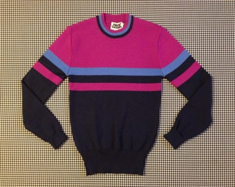 1980's, wool, ski sweater, in navy, magenta, and periwinkle, by Alpine Designs