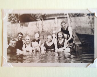 Greeting Card Vintage Photo Group of Friends Swimming Greeting Card and Envelope Blank Inside