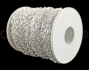 330 Ft - 4x6mm Shiny Silver Cable Chain Spool - For Necklaces, Jewelry, Pendants - 4mm x 6mm Oval Links - 100M Bulk Rolo Chain Roll