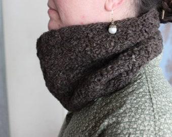 Crocheted cowl, made from brown cormo handspun yarn