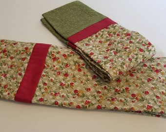 set of two standard pillow cases handmade French seams floral