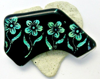 Fused Glass Brooch with Aqua Dichroic Flowers
