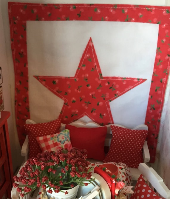 "Star quilt Wall Quilt 7"" x 7 1/2"" Miniature Dollhouse Quilt only"
