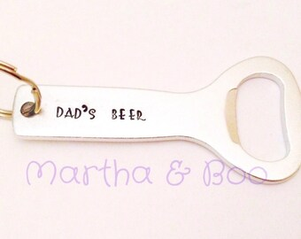 Custom bottle opener, personalised bottle opener, father's day gift, customised keyring, men's gift, hand stamped, beer related, alcohol