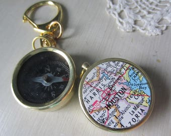 Engraved compass, custom map compass, engraved compass keychain, compass keychain