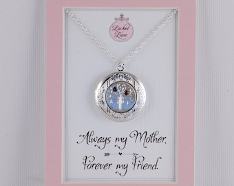 Birthstone Tree of Life Mother's Day Locket Pendant Hand Engraved Photo Message