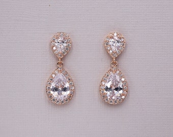 Rose Gold Bridal Earrings, rose gold cz earrings, cubic zirconia earrings,cubic zirconia earrings,bridal jewelry, Kensley Rose Gold Earrings