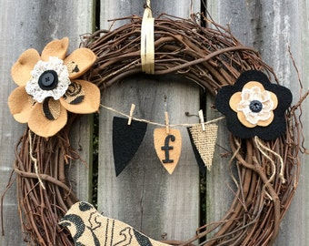 Burlap Bird Grapevine Wreath with Banner- Option to Personalize