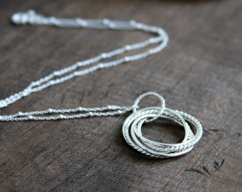 5 ring necklace, intertwined circles, Russian ring necklace, love knot, sterling silver, everyday jewelry, jewelry