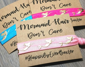 Mermaid Hair Don't Care Hair Tie Favors | Bachelorette Party Favors | Bachelorette Hair Ties Favors | Mermaid Theme Bachelorette