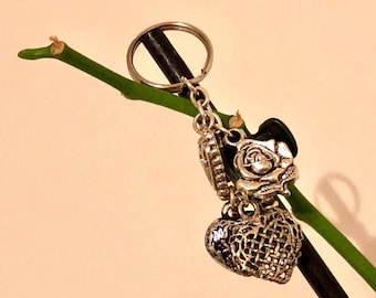 Heart and rose keycharm/keyring